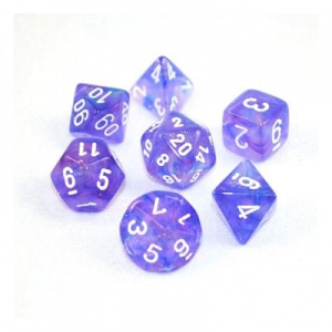 Dice set: Borealis purple/wit