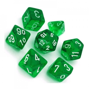 Dice set: Translucent groen/wit