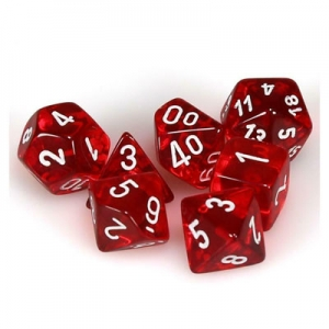 Dice set: Translucent rood/wit